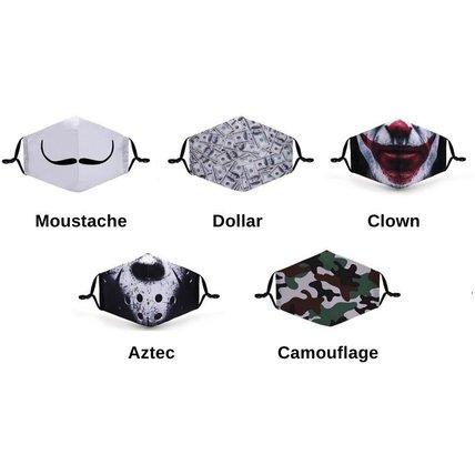 Unisex Cloth Mask 3D Digital Printed with Filter Pocket