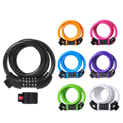 5 Digit Resettable Combination Coiling Bike Cable Lock