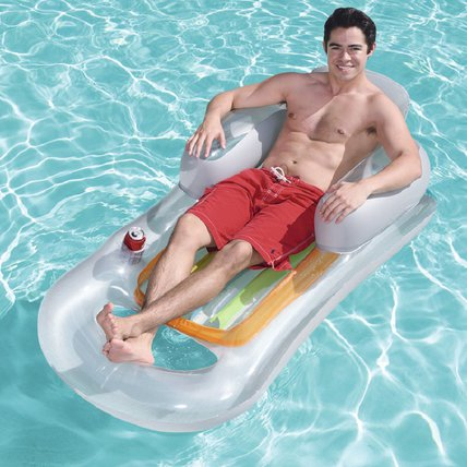 Adults Inflatable Pool Lounger with Headrest and Cup Holder