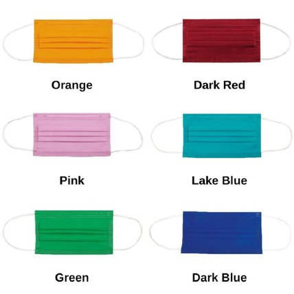 Multicolor Disposable Pure Color Face Mask Adult 3-ply (50 PCS - Any 5 Colors)