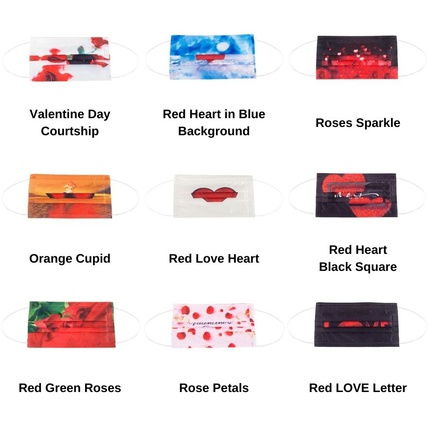 Multicolor Valentine's Day Adult Disposable Printed Face Mask 3-ply(50 PCS - Any 5 colors)