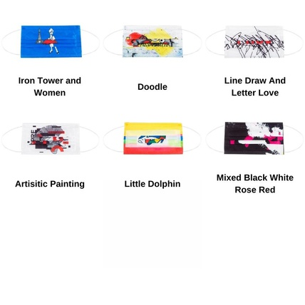 Multicolor Artistic Painting Printed Disposable Face Mask  Adult 3-ply(50 PCS - Any 5 colors)
