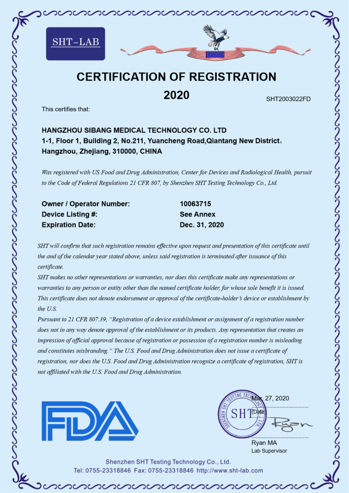 Certification of Registration 1